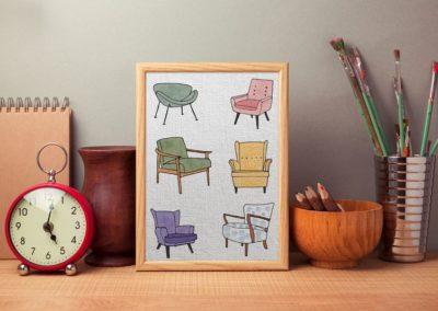 Egyedi grafika fotelek