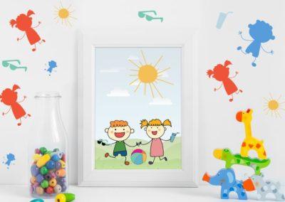 Egyedi grafika gyerekek, nyár