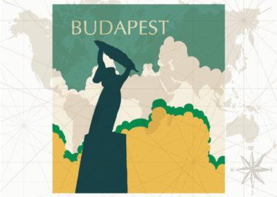 Egyedi utazás grafika Budapest Szabadság-szobor