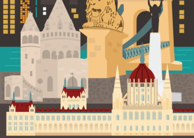 Utazás egyedi grafika Budapest montázs