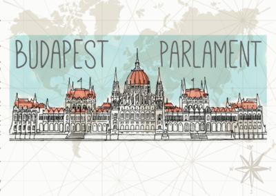 Utazás egyedi grafika Budapest