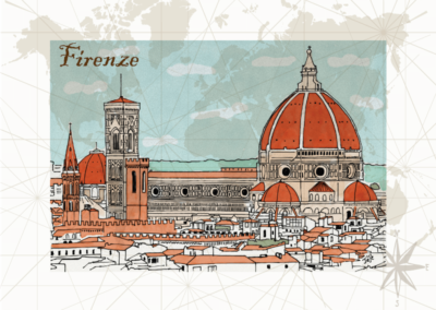 Utazás egyedi grafika Firenze
