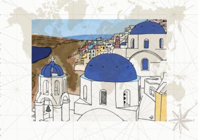 Utazás egyedi grafika Santorini