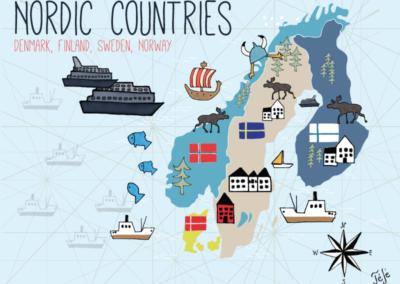 Utazás egyedi grafika Skandinav-map-galeria02