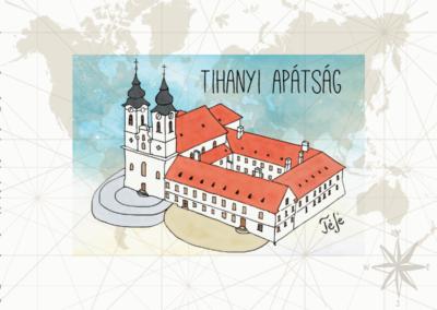 Utazás egyedi grafika Tihanyi apátság
