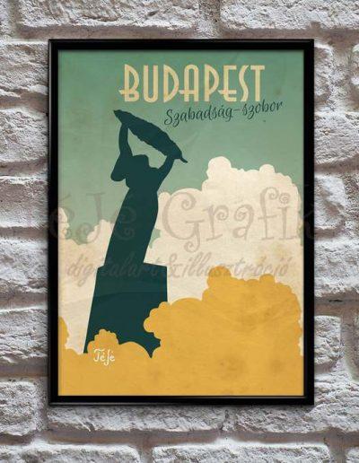 Utazás Budapeste Vintage Poszter Szabadság-szobor