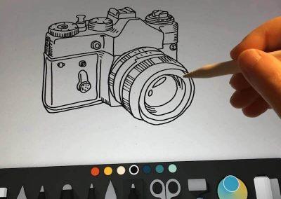 Ajándék ötlet, fényképezőgép egyedi grafika
