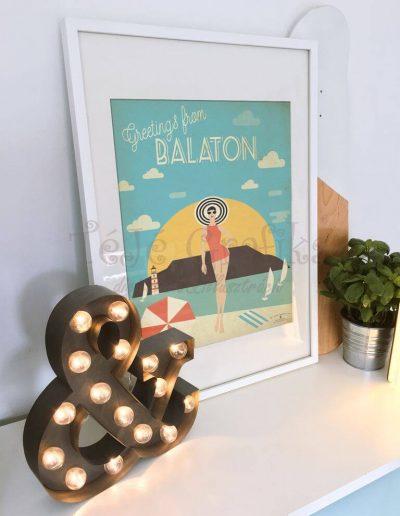Balatoni retró plakát, balatoni ajándéktárgy, falikép
