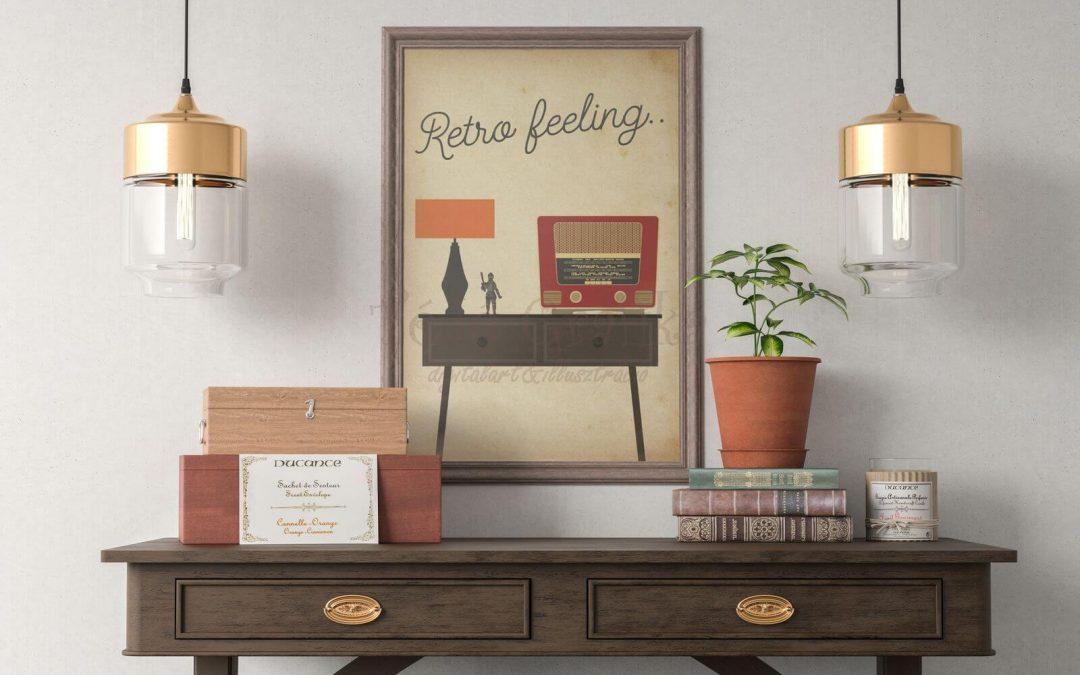 Retro feeling-középpontban a rádió, retró falikép, poszter, falikép, fali dekoráció, lakberendezés, faldíszítés, ajándék ötlet